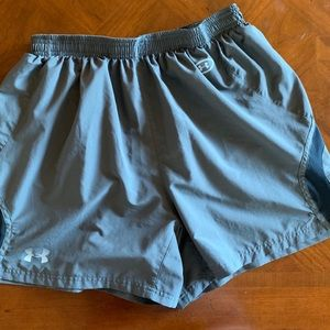 Gray Under Armour track shorts.